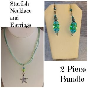2 Piece SS Starfish Necklace and Earrings